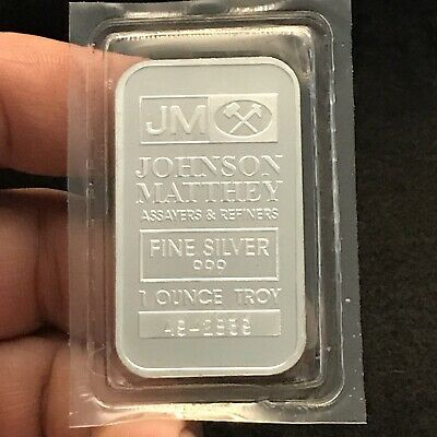 Johnson Matthey Silver Bar Factory Sealed 1 Ounce Troy Fine Silver 999