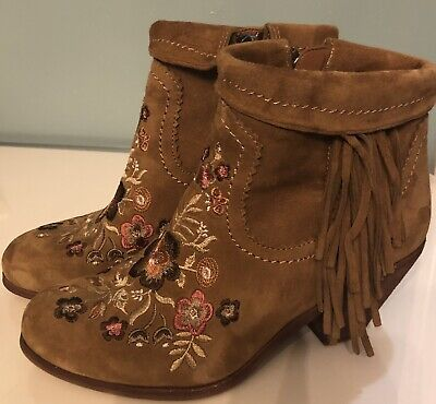 52c52838f Sam Edelman Womens Brown Suede Floral Embroidered Fringe Ankle Boots Size 6M