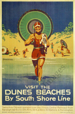 POSTER AUTUMN IN THE DUNES BY SOUTH SHORE LINE USA TRAVEL VINTAGE REPRO FREE S//H