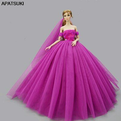 "Purple Fashion Wedding Dress for 11.5"" Doll Clothes Princess Dresses Outfits 1/6"