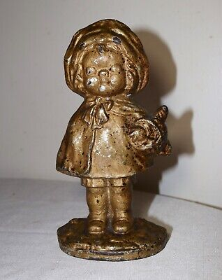 rare antique late 1800's solid cast iron girl with basket heavy figural doorstop