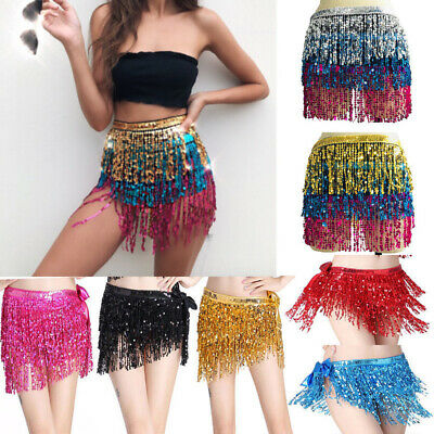 Belly Dance Dancer Costume Sequins Tassels Fringes Hip Scarf Belt Waist Skirt AU