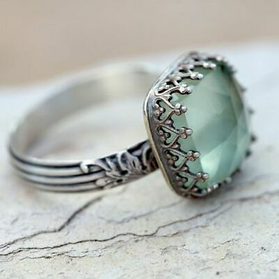 Women 925 Silver Gemstone Vintage Peridot Vintage Moonstone Wedding Ring Sz 6-10