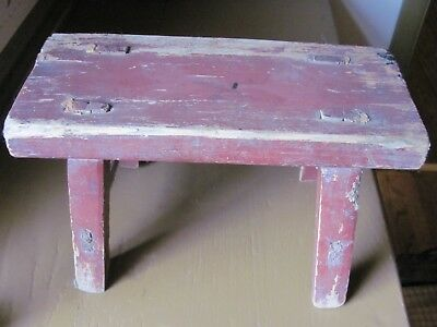 Vintage Wooden Bench Stool, Distressed Dark Red Paint - Primitive Style
