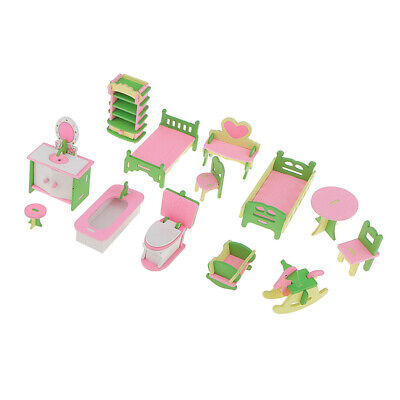 Wooden 3 Sets of Doll Family Furniture Kits Dollhouse Miniatures Decor ACCS