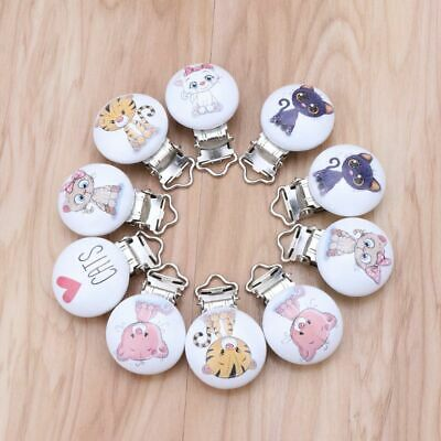 5Pcs Baby Pacifier Clips Clasps Soother Wooden Round Golden 4.4x3cm B44995