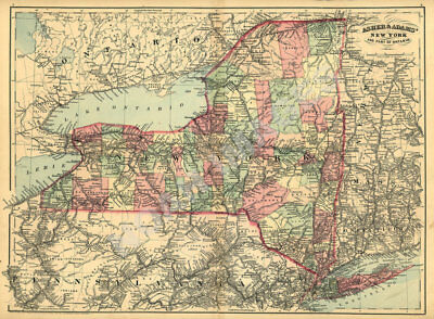 New York and part of Ontario c1871 map 24x17.5