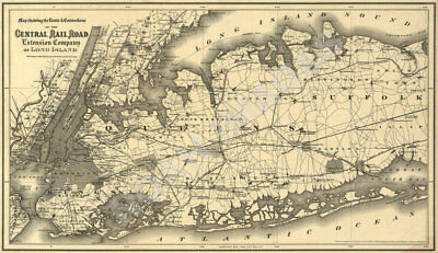 Central Rail Road Extension Company map of Long Island c1873 27x16