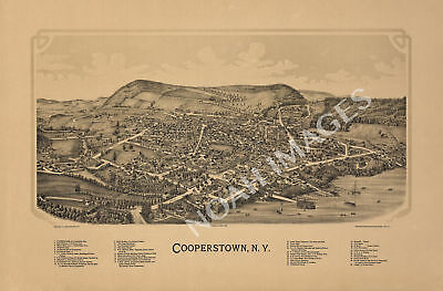 Cooperstown NY c1890 map 36x24