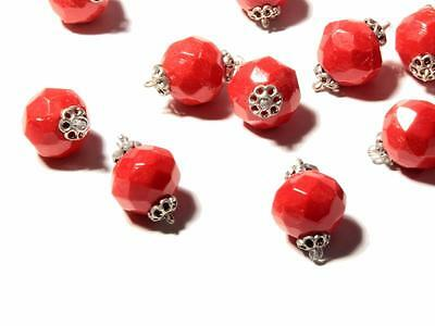 Lot (15) 13mm vintage Art Deco Czech red faceted wired connector glass beads