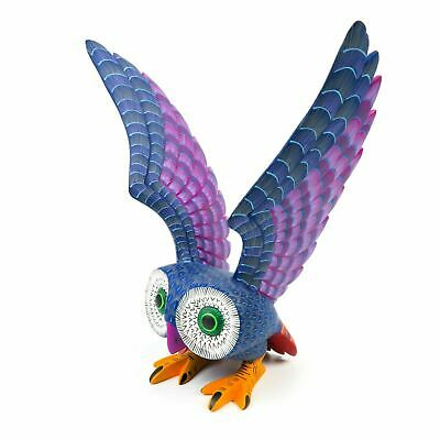 LARGE OWL Oaxacan Alebrije Wood Carving Mexican Art Animal Sculpture Painting