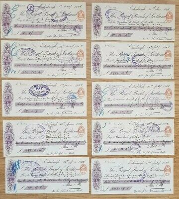 Collection Of 10 Cashed 1908 Bank of Scotland Cheques (ref4)