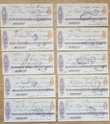 Collection Of 10 Cashed 1909 Bank of Scotland Cheques (ref6)