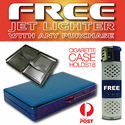 Cigarette metal case with metal holders - holds 16 cigarettes FREE Jet Lighter