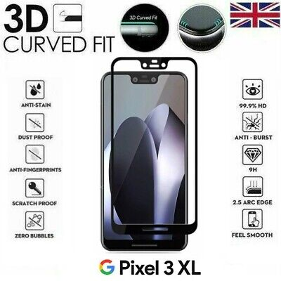 For Google Pixel 3 XL Full Coverage 3D Tempered Glass 9H Screen Protector Cover