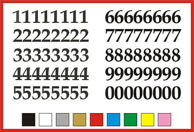 STICKY NUMBERS 0 to 9 Serif 30mm OR 35mm high vinyl set - any colour