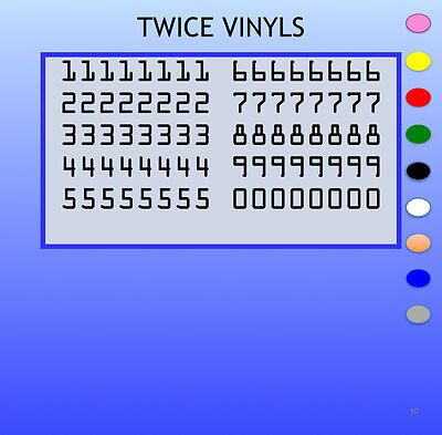 STICKY NUMBERS 0 to 9 OCR standard 15mm high vinyl set - any colour