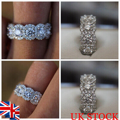 UK Women ​Silver Ring Rhinestone Crystal Finger Band Engagement Wedding Jewelry