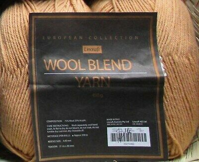 300g LINCRAFT WOOL BLEND YARN - 8 PLY - TAUPE