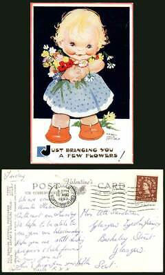 MABEL LUCIE ATTWELL 1957 Old Postcard Girl Just Bringing You a Few Flowers! 5505