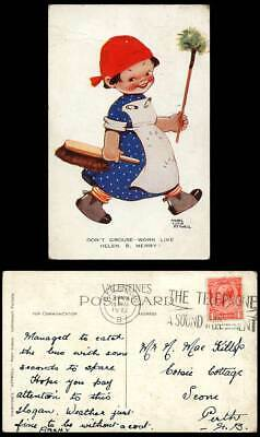 MABEL LUCIE ATTWELL 1932 Old Postcard Don't Grouse Work Like Helen B. Merry 1011