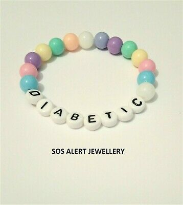 """Kids Medical Alert SOS Bracelet Pastel Acrylic Bead 6"""" Stretch. I can do numbers"""