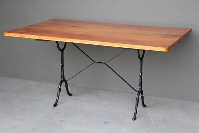 Vintage wooden top provincial dining table French antique cast iron base seats 6