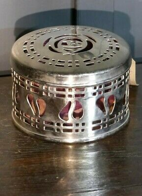 Round Art Nouveau Style Potpourri Case, Heavyweight Polished Fret-Worked Metal