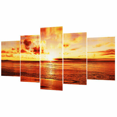 5 PCS/Set Large Seaside Sunset Canvas Wall Art Print Painting Picture Unframed