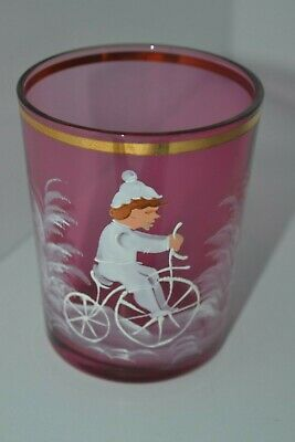 Vintage Hand Painted Mary Gregory Drinking Glasses Boy Cranberry Red Glass
