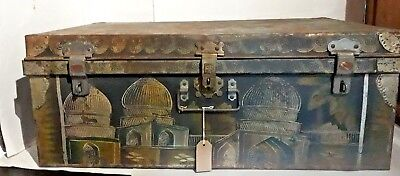 A Painted Antique Trunk, with Great Patina. Moroccan/Egyptian