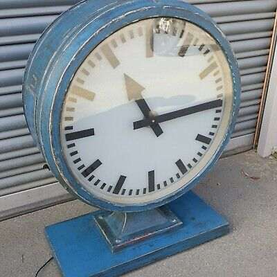 Old Industrial Double Sided Illuminated Clock Working Perfectly With Quartz