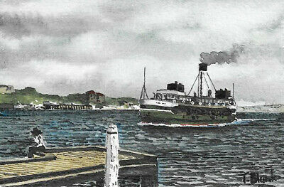 "ORIGINAL AQUARELL - Manly Ferry ""Burra-Bra""."