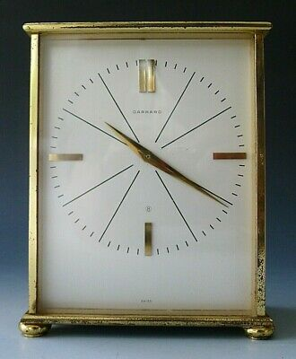 Vintage GARRARD clockwork 8 day gilt brass mantel clock 1960s modernist
