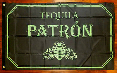 Patron Tequila 3x5 Flag Promotional Banner man cave basement bar green NEW