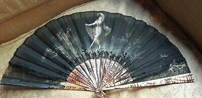 Antique french rare black mother pearl fan