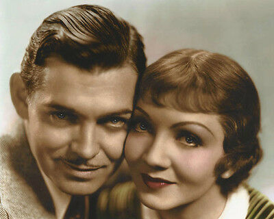 CLARK GABLE CLAUDETTE COLBERT IT HAPPENED ONE NIGHT 8x10 HAND COLOR TINTED PHOTO
