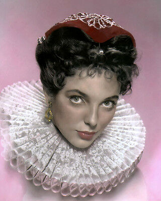 """JOAN COLLINS THE VIRGIN QUEEN 1955 ACTRESS 8x10"""" HAND COLOR TINTED PHOTOGRAPH"""