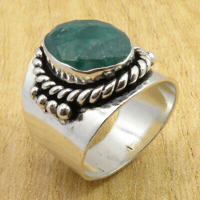 Jewelers 925 Silver Plated Fabulous Simulated Emerald STUNNING Ring Size 7 NEW