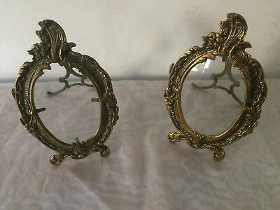 Lot de 2 cadres porte photo ancien en bronze