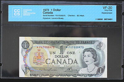 1973 1 Dollar Bank of Canada • Lawson/Bouey • Replacement • CCCS VF-20