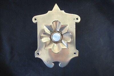 """Large Ornate Antique Brass & China Electric Door Bell Push - 6"""""""