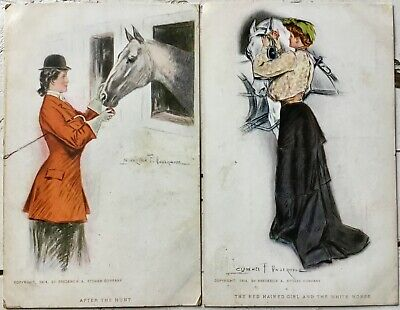 Clarence F. Underwood Lot of 2 vintage antique postcards victorian women horse