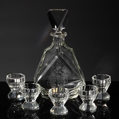 Antique Czech grapes and vine engraved crystal glass Decanter shot glass set