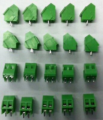 20pcs  2 pin PCB Terminal Block PCB, 5mm, 10A, rising clamp, 45 degree angle