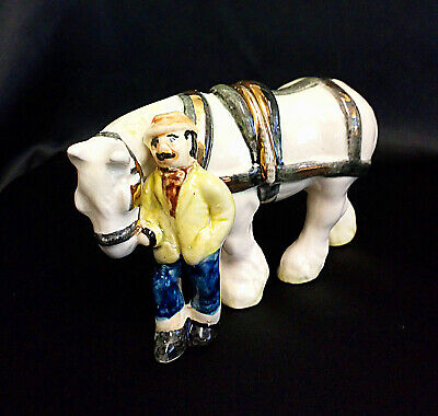 Small Vintage Ceramic Pottery Man With Shire Horse