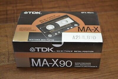 SEALED BOX of 10 Sealed TDK MA-X90 Metal Cassette Tapes