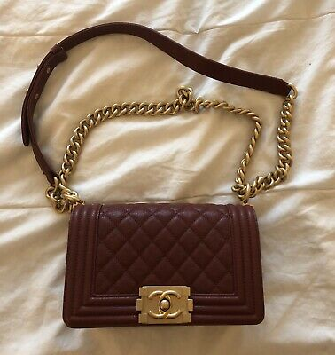 e9e609d20839 AUTHENTIC CHANEL DISTRESSED Burgundy Glazed Calfskin Chained Small ...