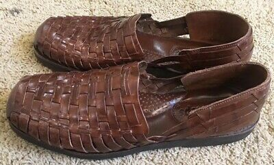 edf87f0557d8 Mens Sunsteps Huarache Brown Leather Hand Woven Closed Toe Sandals Size 11