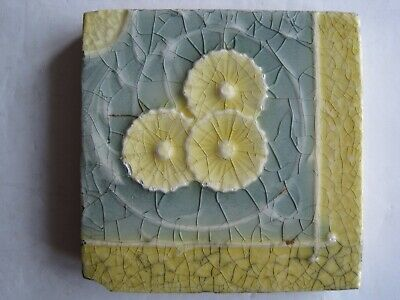 "Antique Victorian Mintons 3"" Square Yellow Moulded Majolica Glazed  Corner Tile"